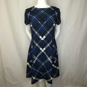 Vince Camuto Blue Plaid Fit & Flare Dress